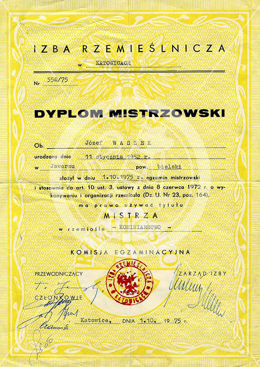 Dyplom Mistrzowski Józef Waszek