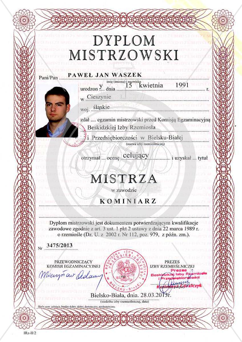 Dyplom Mistrzowski Paweł Waszek