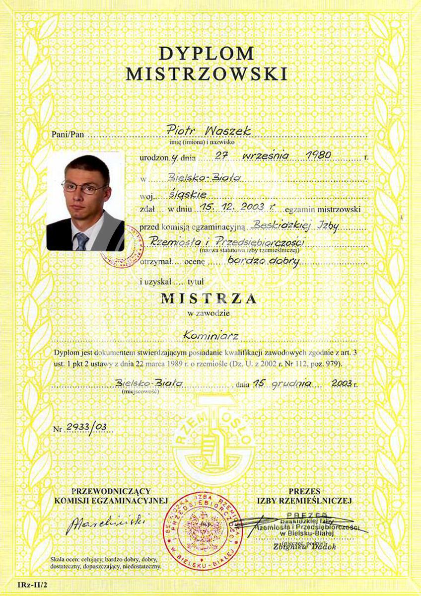 Dyplom Mistrzowski Piotr Waszek